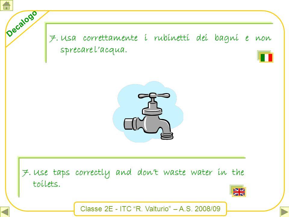 Usa correttamente i rubinetti dei bagni e non sprecare l'acqua.