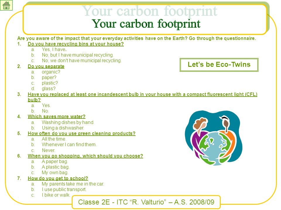 Your carbon footprint Let's be Eco-Twins