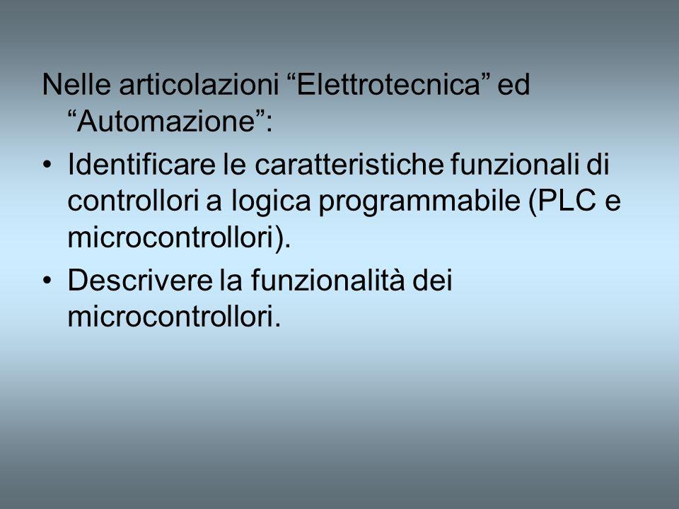 Nelle articolazioni Elettrotecnica ed Automazione :