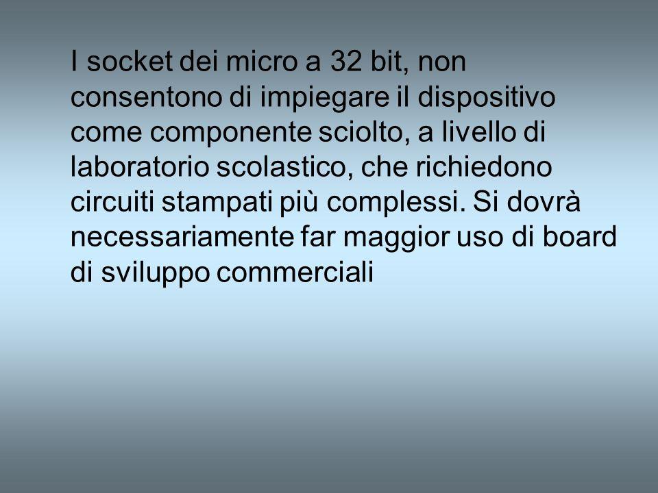 I socket dei micro a 32 bit, non consentono di impiegare il dispositivo come componente sciolto, a livello di laboratorio scolastico, che richiedono circuiti stampati più complessi.