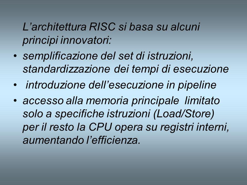 L'architettura RISC si basa su alcuni principi innovatori:
