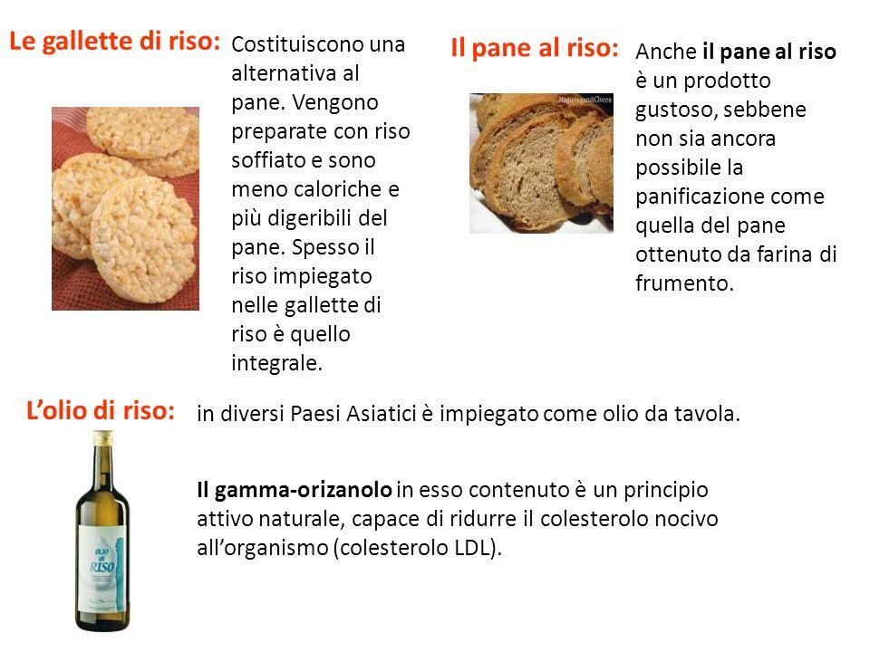 Le gallette di riso: Il pane al riso: L'olio di riso: