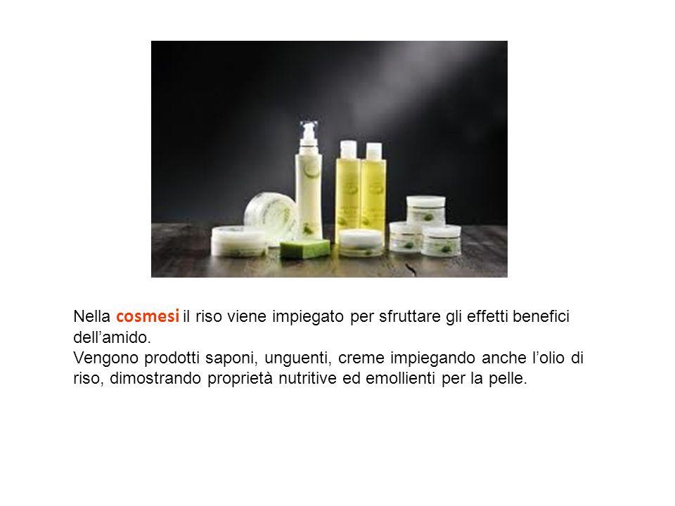 Nella cosmesi il riso viene impiegato per sfruttare gli effetti benefici dell'amido.