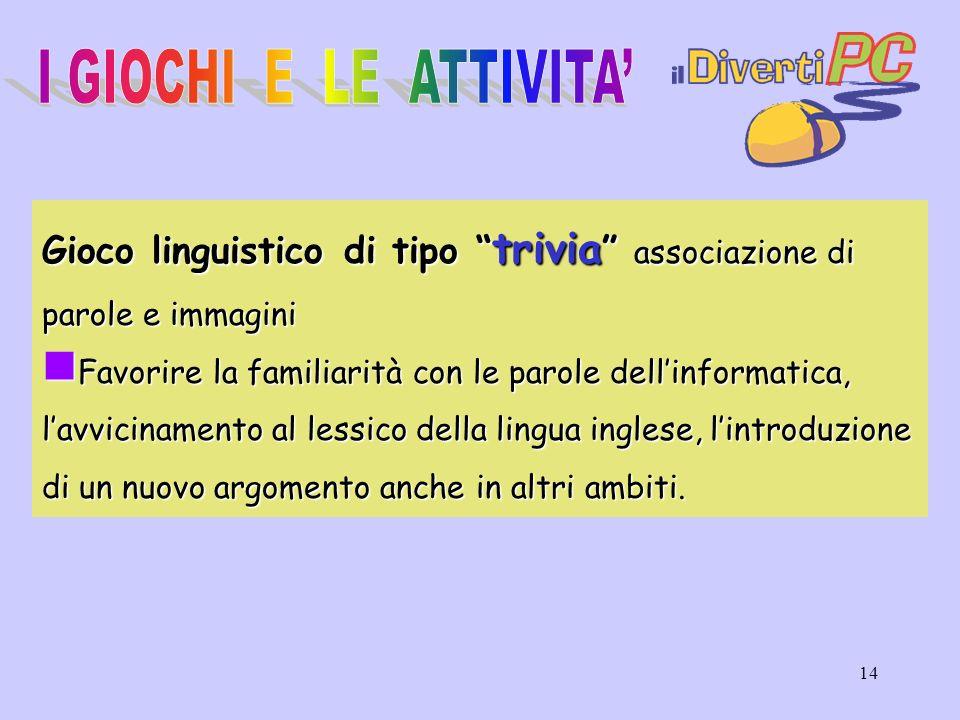 I GIOCHI E LE ATTIVITA' Gioco linguistico di tipo trivia associazione di parole e immagini.