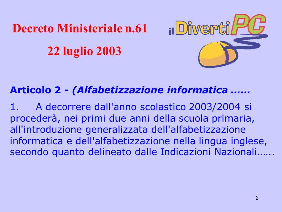 Decreto Ministeriale n.61 22 luglio 2003