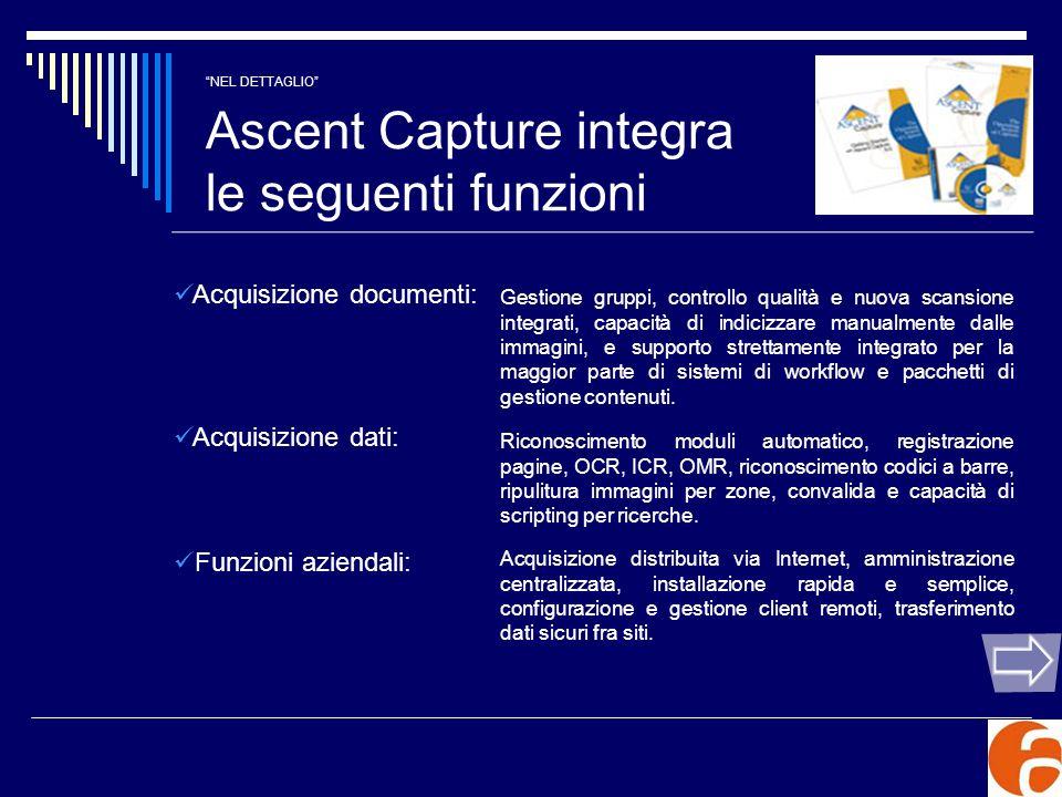 NEL DETTAGLIO Ascent Capture integra le seguenti funzioni
