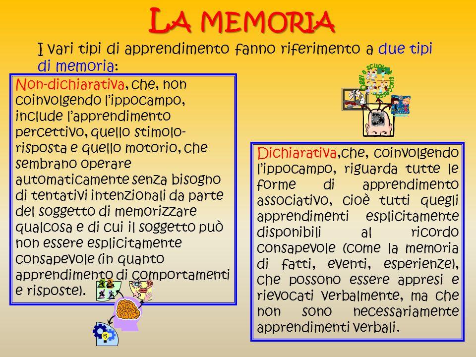 La memoria I vari tipi di apprendimento fanno riferimento a due tipi di memoria: Guarda... fai come me!