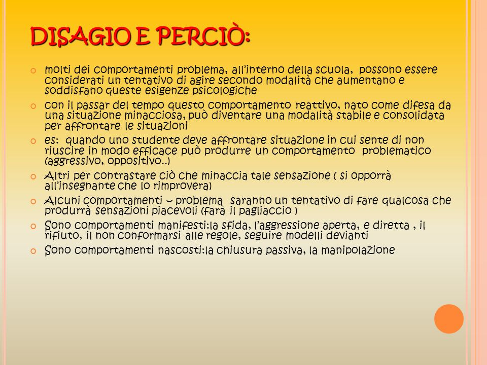 DISAGIO E PERCIÒ: