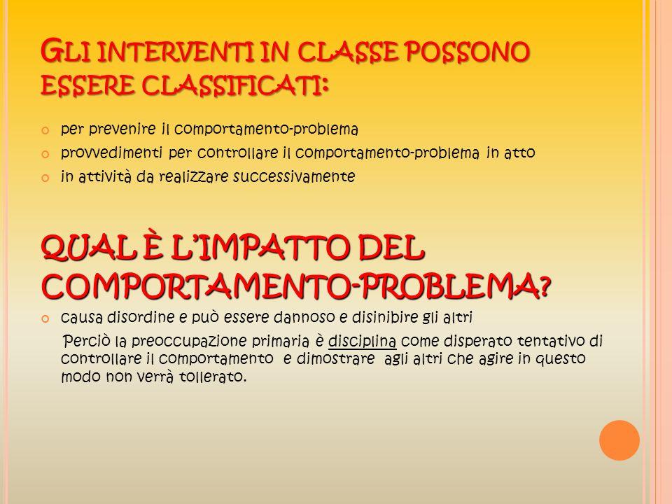 Gli interventi in classe possono essere classificati: