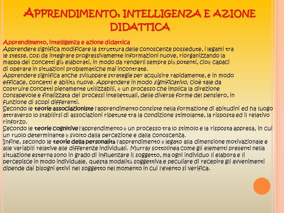 Apprendimento, intelligenza e azione didattica