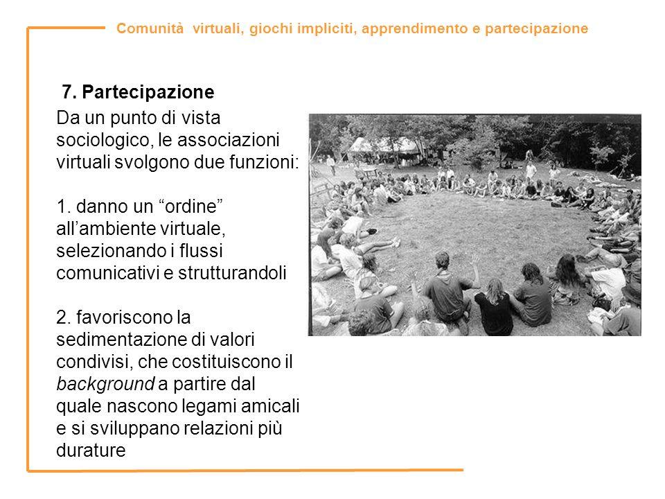 7. Partecipazione Da un punto di vista sociologico, le associazioni virtuali svolgono due funzioni: