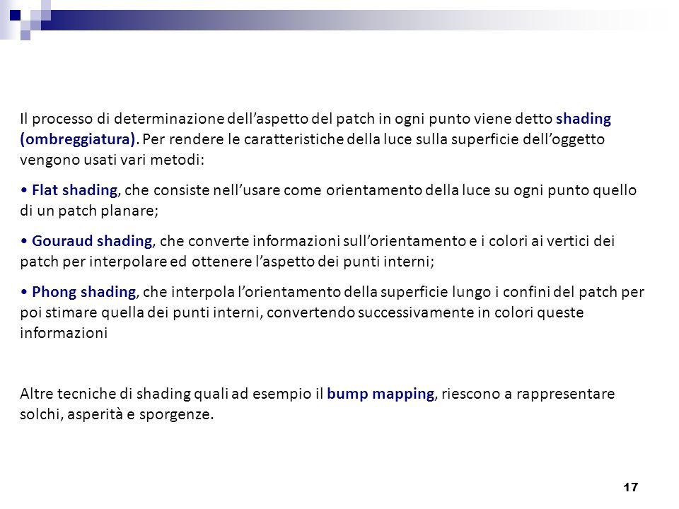 Il processo di determinazione dell'aspetto del patch in ogni punto viene detto shading (ombreggiatura). Per rendere le caratteristiche della luce sulla superficie dell'oggetto vengono usati vari metodi: