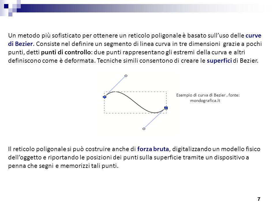 Un metodo più sofisticato per ottenere un reticolo poligonale è basato sull'uso delle curve di Bezier. Consiste nel definire un segmento di linea curva in tre dimensioni grazie a pochi punti, detti punti di controllo: due punti rappresentano gli estremi della curva e altri definiscono come è deformata. Tecniche simili consentono di creare le superfici di Bezier.