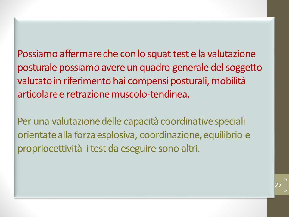 Possiamo affermare che con lo squat test e la valutazione posturale possiamo avere un quadro generale del soggetto valutato in riferimento hai compensi posturali, mobilità articolare e retrazione muscolo-tendinea.