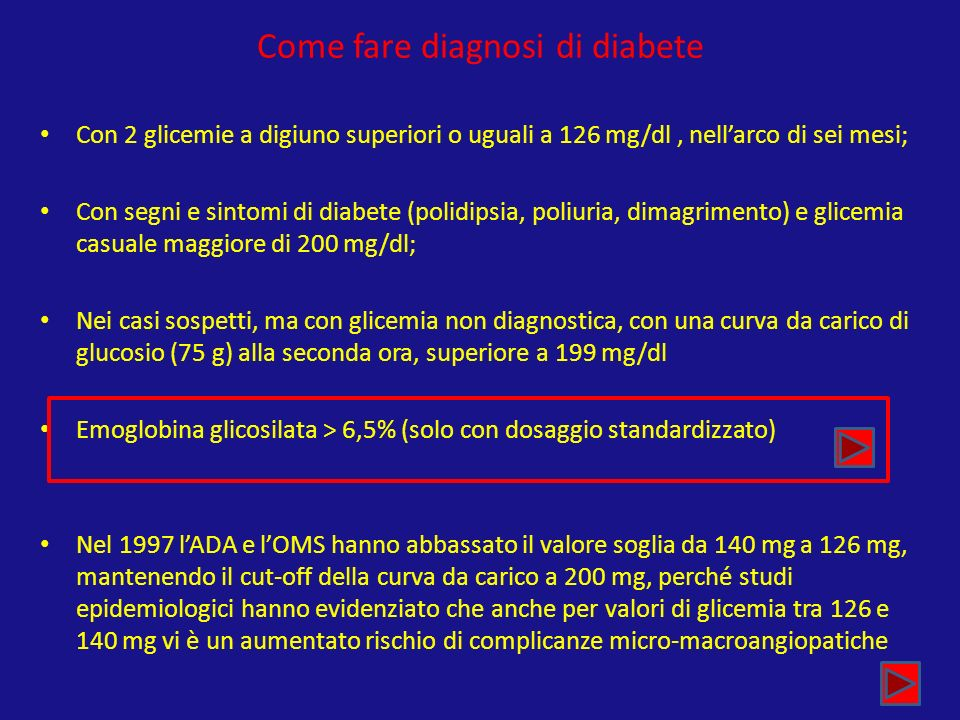 Come fare diagnosi di diabete