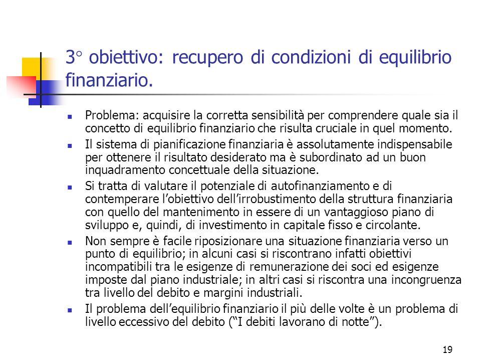 3° obiettivo: recupero di condizioni di equilibrio finanziario.