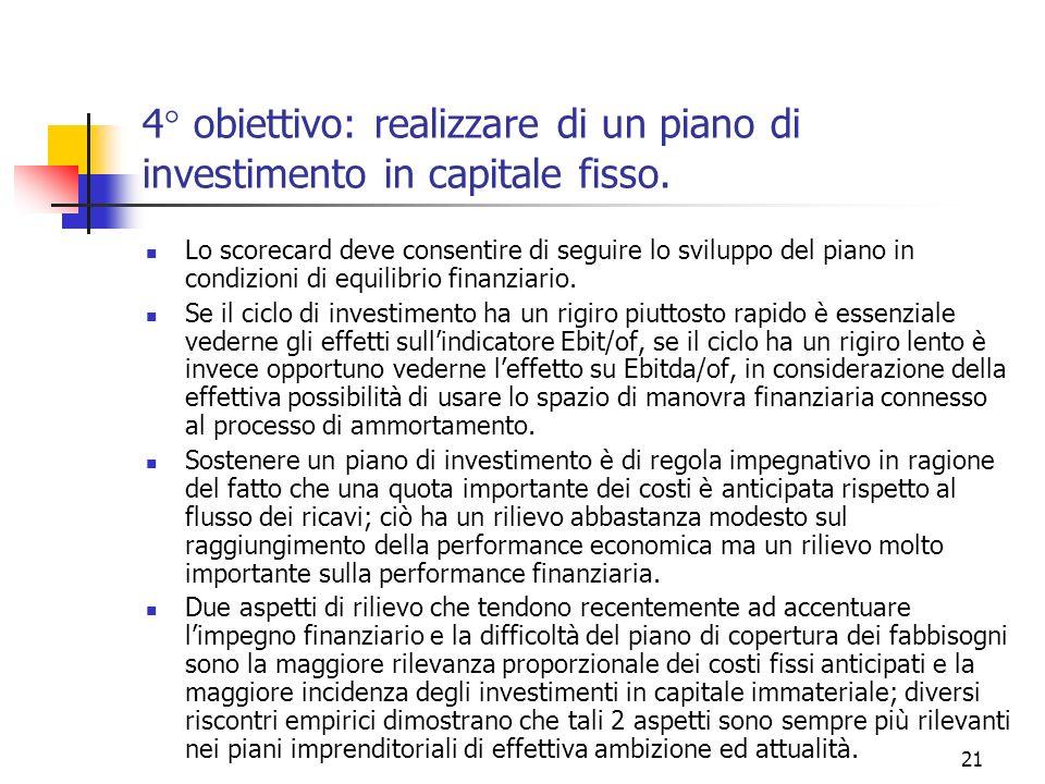 4° obiettivo: realizzare di un piano di investimento in capitale fisso.