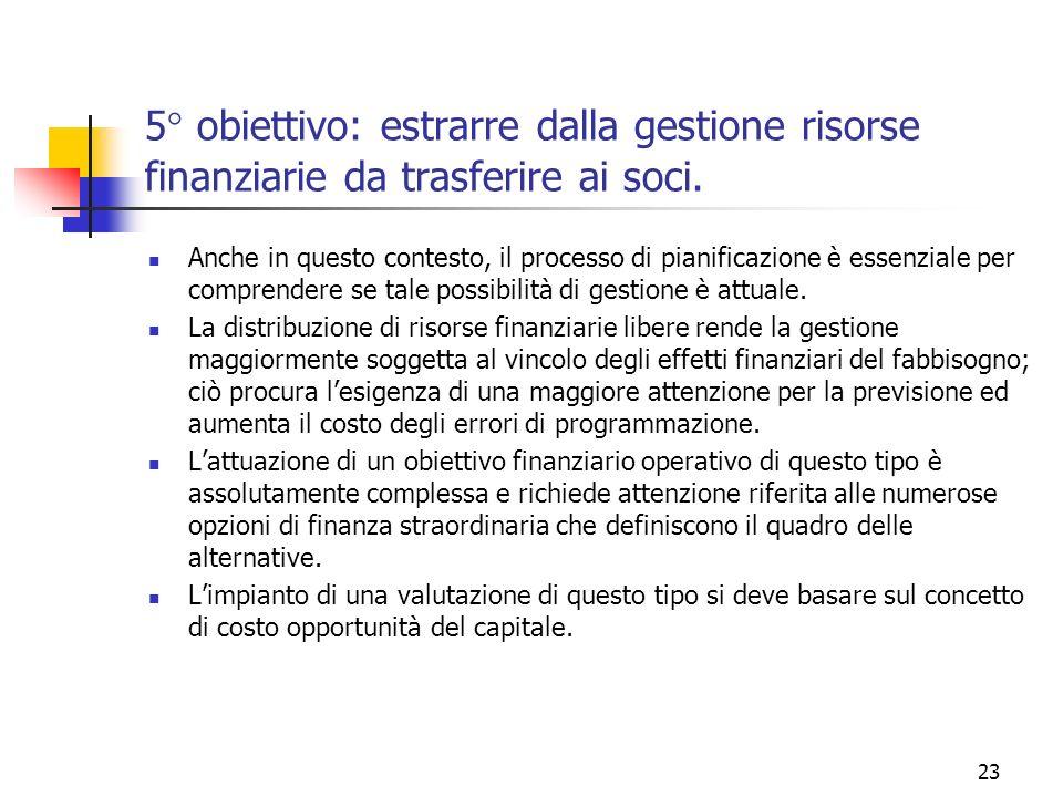 5° obiettivo: estrarre dalla gestione risorse finanziarie da trasferire ai soci.