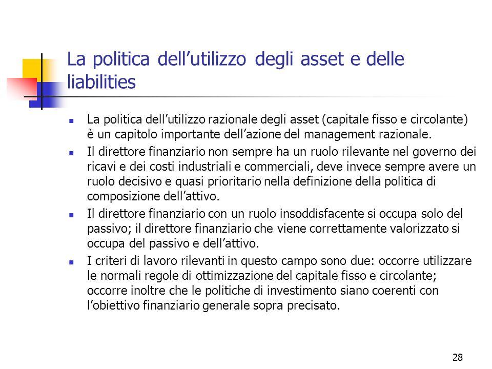 La politica dell'utilizzo degli asset e delle liabilities