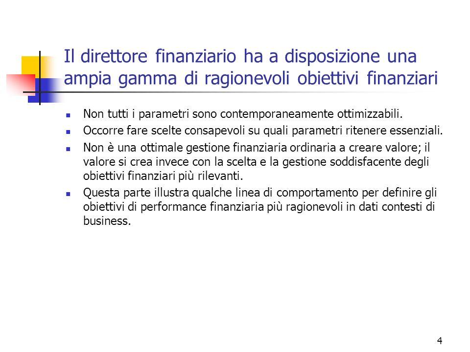 Il direttore finanziario ha a disposizione una ampia gamma di ragionevoli obiettivi finanziari