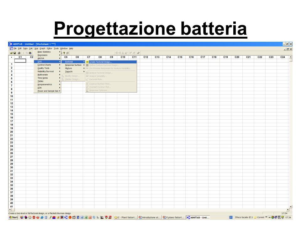 Progettazione batteria