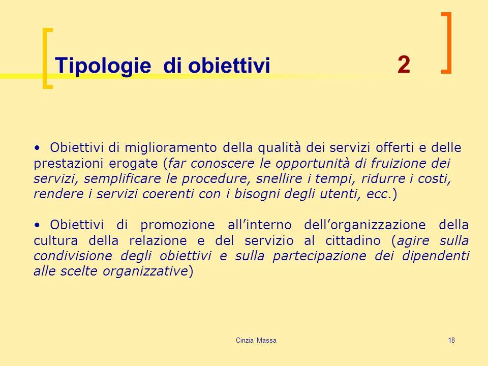 Tipologie di obiettivi 2