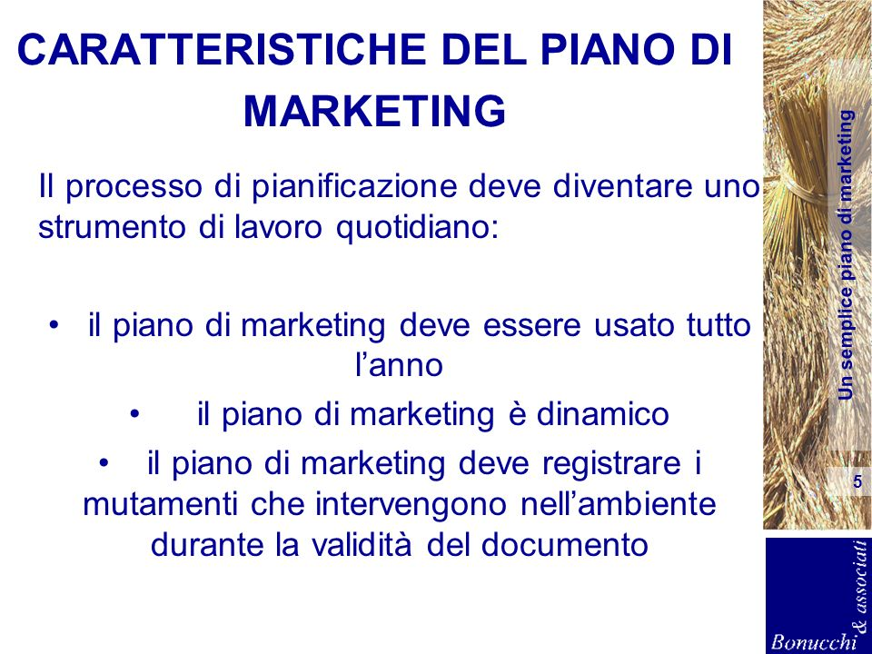 CARATTERISTICHE DEL PIANO DI MARKETING