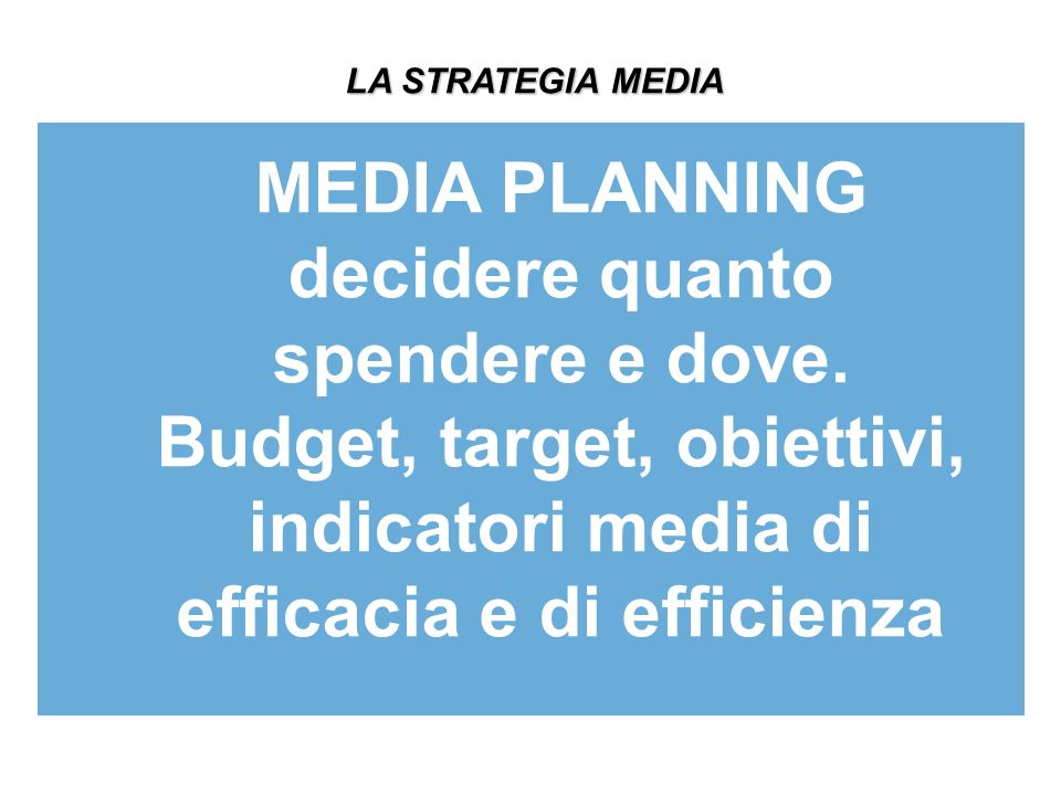 MEDIA PLANNING decidere quanto spendere e dove.