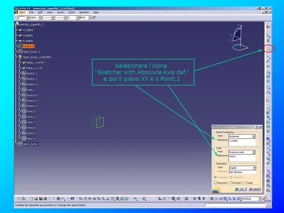 Sketcher with Absolute Axis def. e poi il piano XY e il Point.1