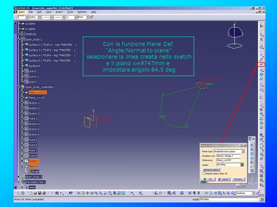 Con la funzione Plane Def. Angle/Normal to plane