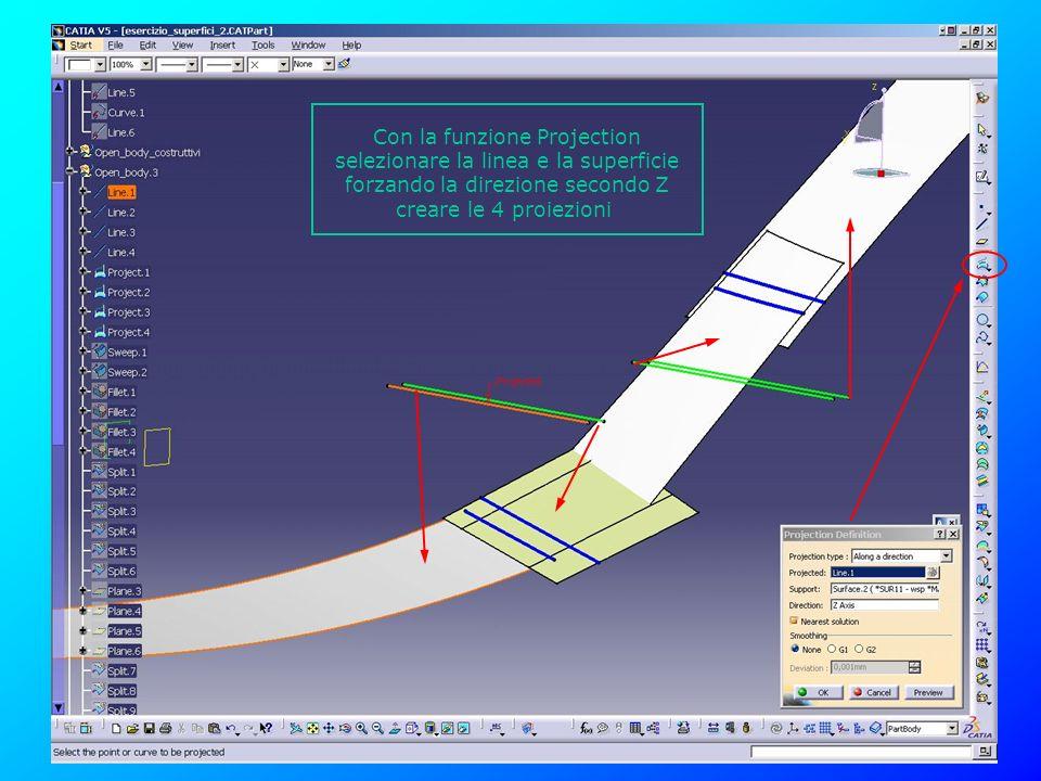 Con la funzione Projection selezionare la linea e la superficie