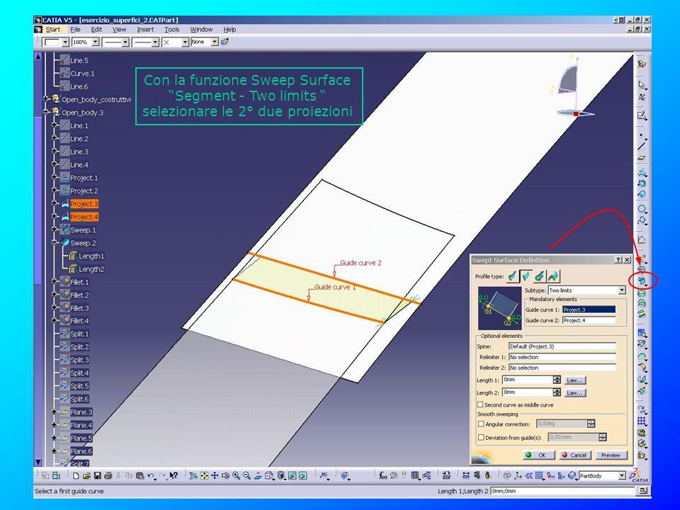 Con la funzione Sweep Surface Segment - Two limits