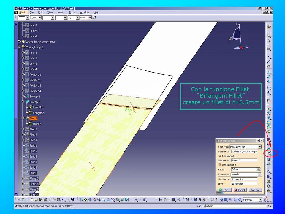 creare un fillet di r=6.5mm
