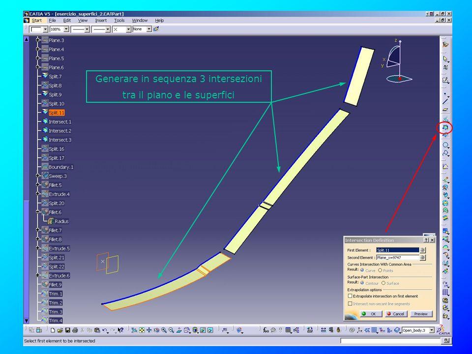 Generare in sequenza 3 intersezioni tra il piano e le superfici