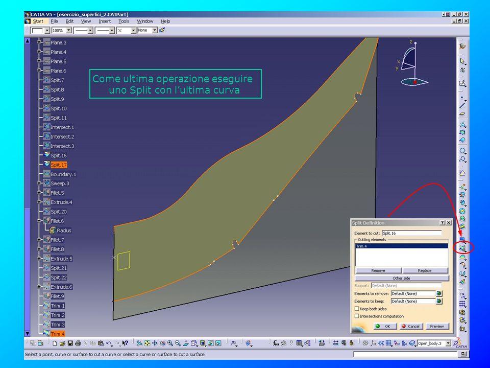 Come ultima operazione eseguire uno Split con l'ultima curva