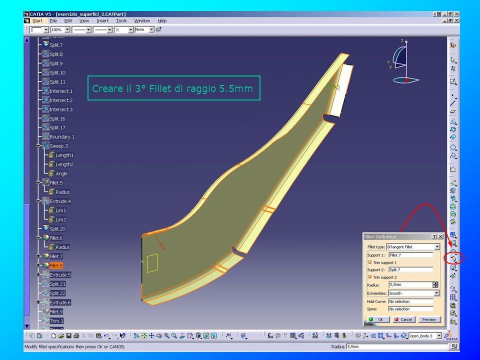 Creare il 3° Fillet di raggio 5.5mm