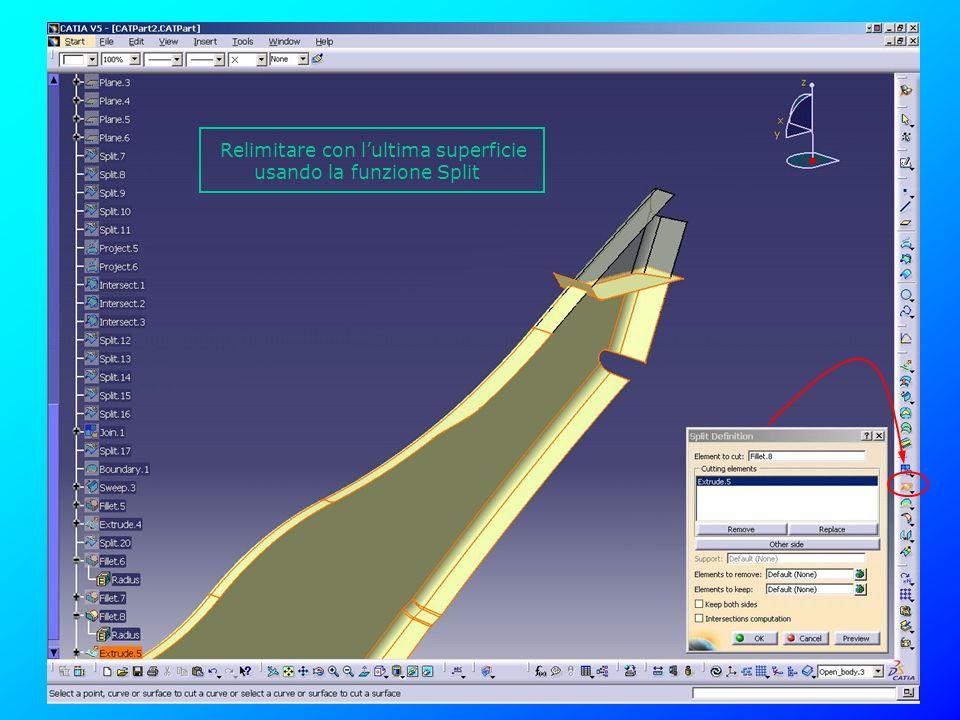 Relimitare con l'ultima superficie usando la funzione Split