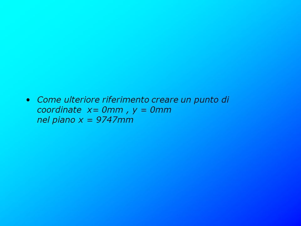 Come ulteriore riferimento creare un punto di coordinate x= 0mm , y = 0mm nel piano x = 9747mm