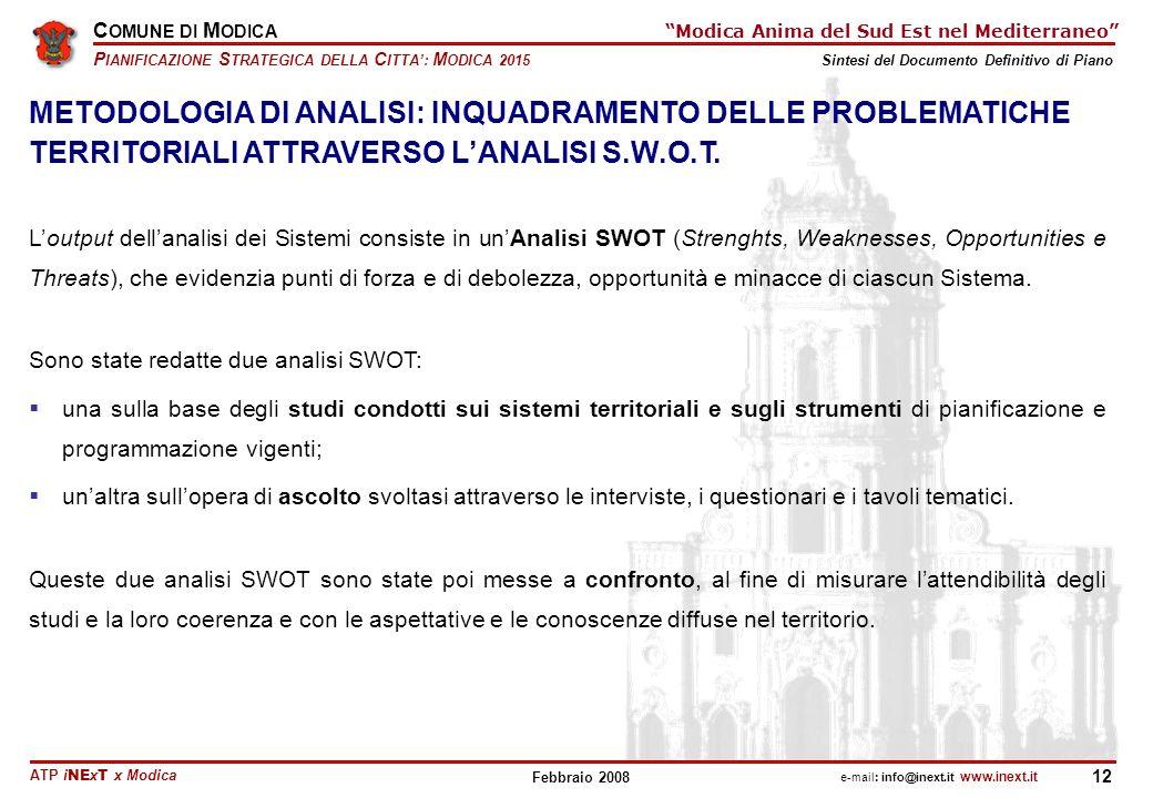 METODOLOGIA DI ANALISI: INQUADRAMENTO DELLE PROBLEMATICHE TERRITORIALI ATTRAVERSO L'ANALISI S.W.O.T.