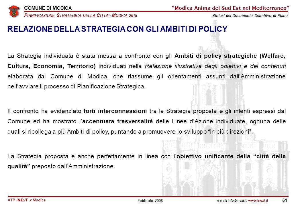 RELAZIONE DELLA STRATEGIA CON GLI AMBITI DI POLICY