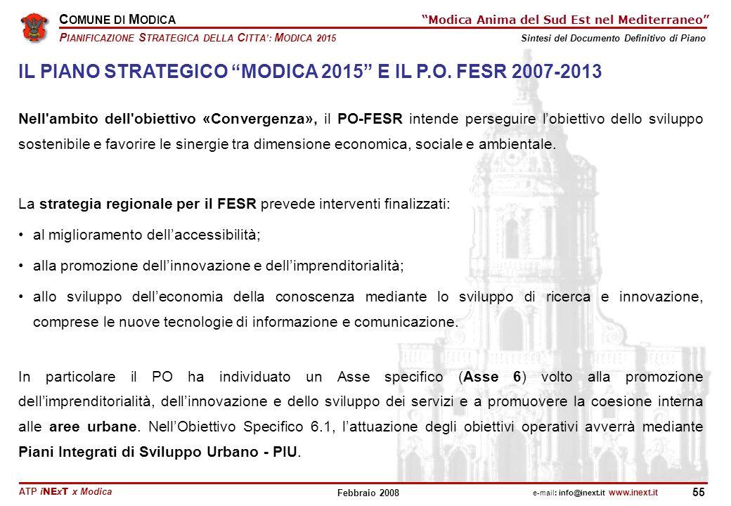 IL PIANO STRATEGICO MODICA 2015 E IL P.O. FESR 2007-2013