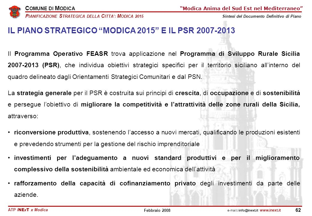 IL PIANO STRATEGICO MODICA 2015 E IL PSR 2007-2013