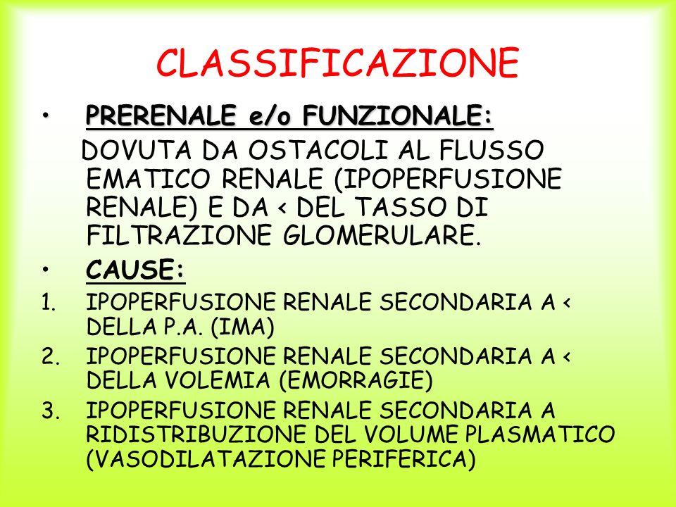 CLASSIFICAZIONE PRERENALE e/o FUNZIONALE: