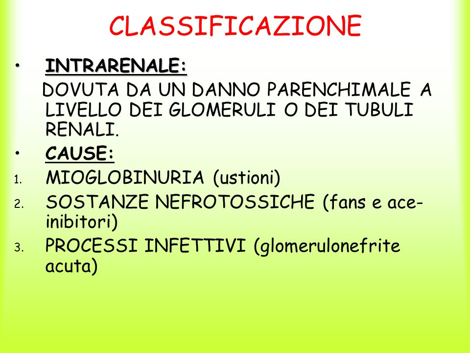 CLASSIFICAZIONE INTRARENALE: