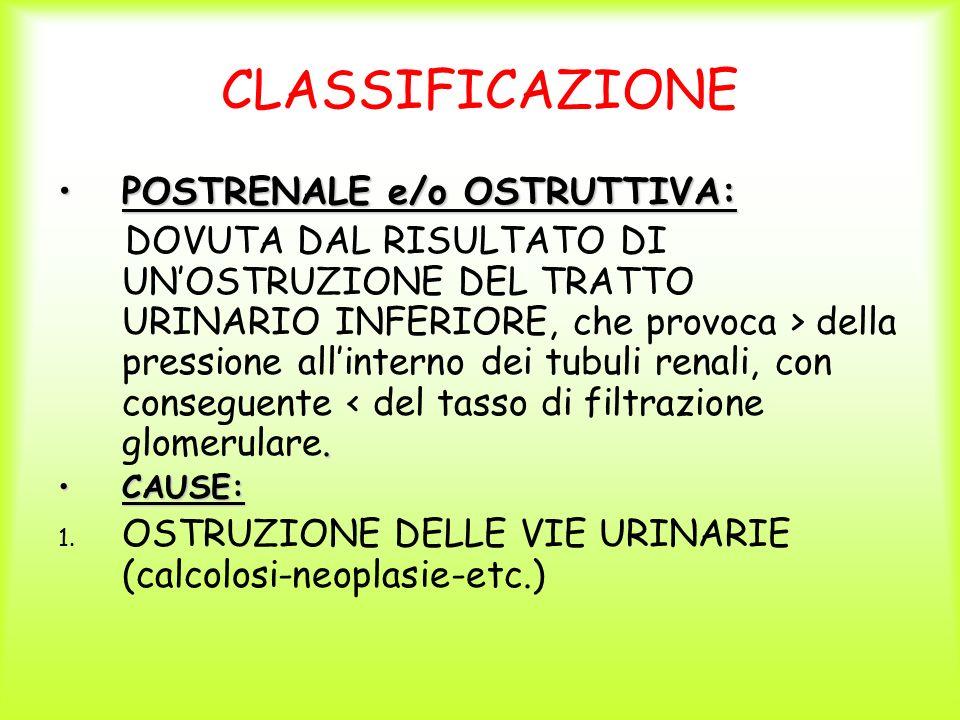 CLASSIFICAZIONE POSTRENALE e/o OSTRUTTIVA:
