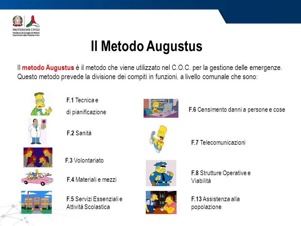 Il Metodo Augustus Il metodo Augustus è il metodo che viene utilizzato nel C.O.C. per la gestione delle emergenze.