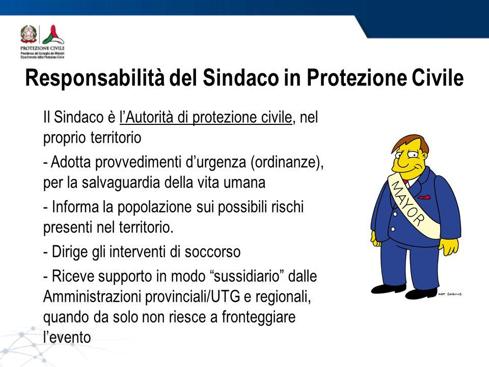 Responsabilità del Sindaco in Protezione Civile