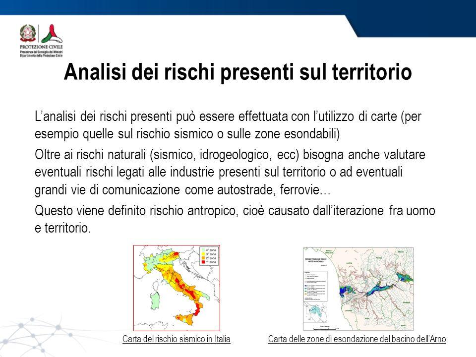 Analisi dei rischi presenti sul territorio