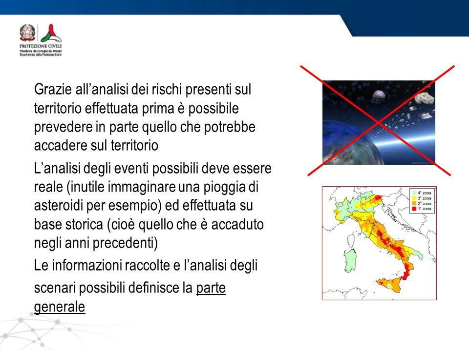 Grazie all'analisi dei rischi presenti sul territorio effettuata prima è possibile prevedere in parte quello che potrebbe accadere sul territorio