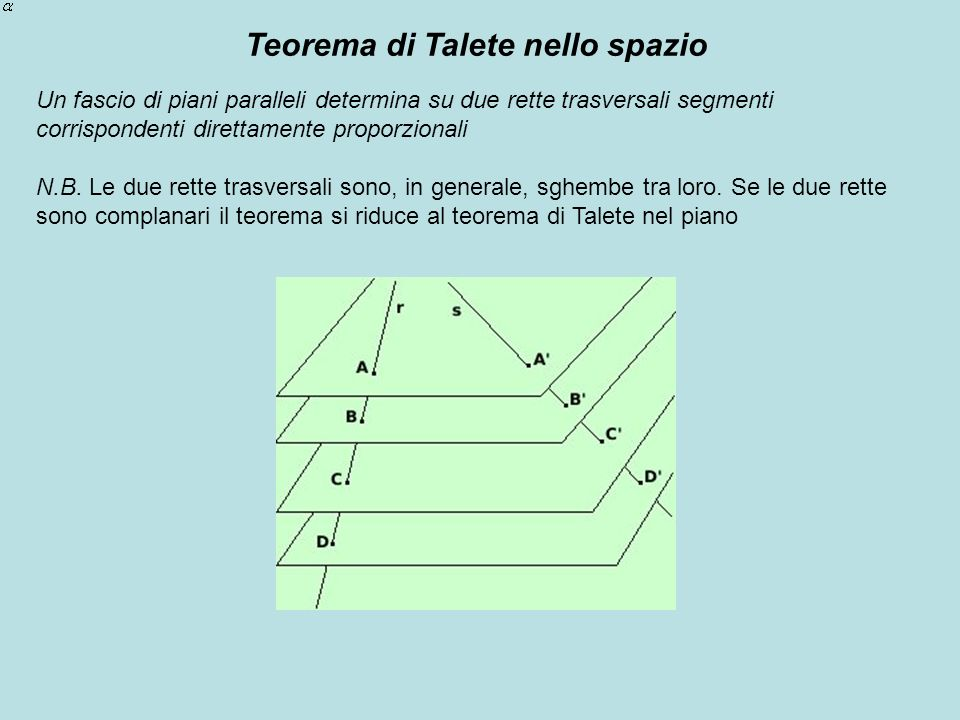 Teorema di Talete nello spazio